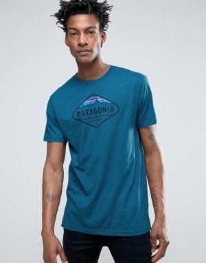 Patagonia Синяя меланжевая футболка с логотипом и горой Фицрой. Цвет: синий