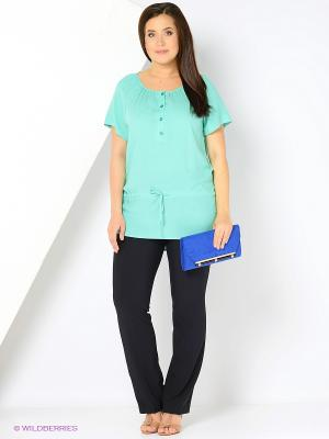 Блузка VENUSITA. Цвет: бирюзовый
