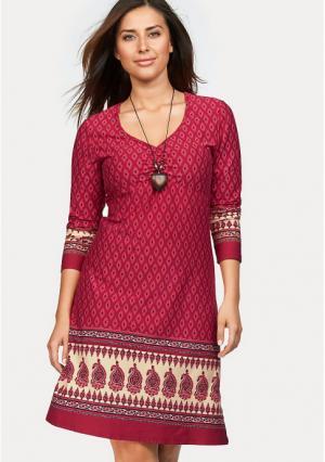 Платье BOYSENS BOYSEN'S. Цвет: зелено-синий с рисунком, красный с рисунком, серо-коричневый с рисунком