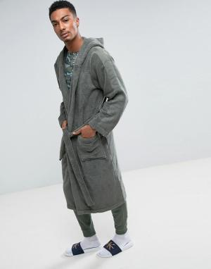 Calvin Klein Махровый халат. Цвет: зеленый