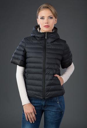 Осенняя пуховая куртка с коротким рукавом AFG. Цвет: черный