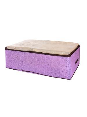 Кофр для хранения одеял и пледов Звезды фиолетовый EL CASA. Цвет: фиолетовый