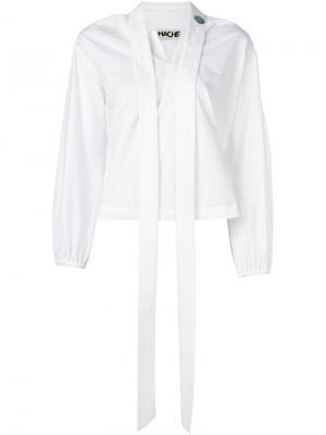 Блузка с элементом шарфа Hache. Цвет: белый