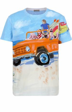 Хлопковая футболка с принтом Moncler. Цвет: голубой