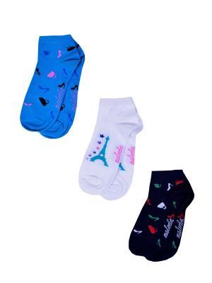 Носки женские,комплект 3шт Malerba. Цвет: синий, белый, голубой