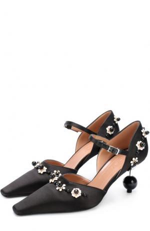 Атласные туфли с аппликациями на фигурном каблуке Marni. Цвет: черный