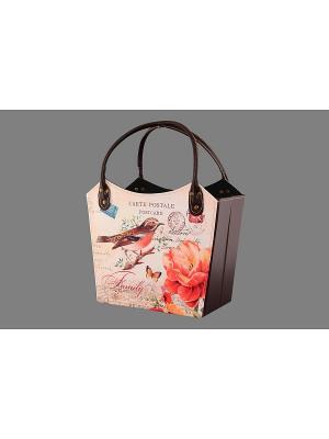 Газетница - сумочка складная Птичка певчая EL CASA. Цвет: бежевый, красный, коричневый