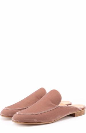 Бархатные сабо Marcel с прострочкой Gianvito Rossi. Цвет: пепельно-розовый