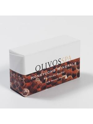 Мыло туалетное натуральное СПА/Медовые соты и менералы OLIVOS. Цвет: бежевый