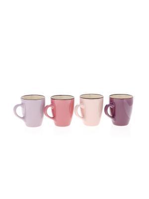 Набор из 4х чашек Elff Ceramics. Цвет: бордовый, сиреневый, бледно-розовый, розовый