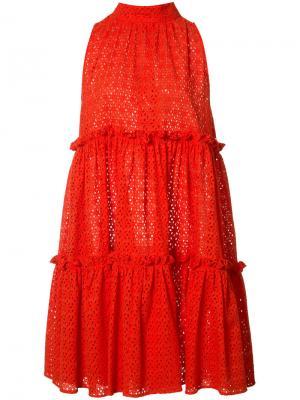 Расклешенное платье с оборками Lisa Marie Fernandez. Цвет: красный