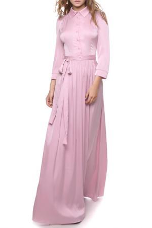 Атласное платье с отложным воротником и пуговицами MARICHUELL. Цвет: светлая мальва