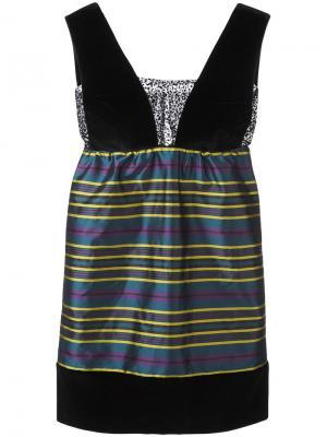 Полосатое мини-платье Isa Arfen. Цвет: чёрный