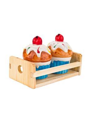 Набор солонка и  перечница Кекс на деревянной подставке Elff Ceramics. Цвет: голубой, желтый, белый