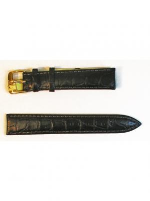 Ремень для часов, Orlando Kroko, нат.крокодил, черный, 18 мм Di-modell. Цвет: черный