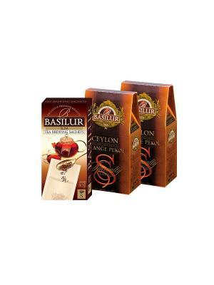 Набор Basilur Цейлон Орандж Пекое 100гр *2 + Фильтр-пакет в Подарок. Цвет: черный