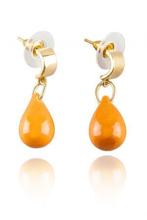 Серьги 117057 Nach Jewellery. Цвет: оранжевый