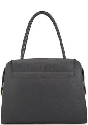 Кожаная сумка с длинными ручками Gironacci. Цвет: серый