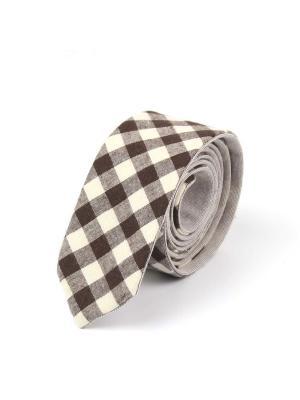 Галстук двухсторонний Churchill accessories. Цвет: темно-коричневый, белый, коричневый