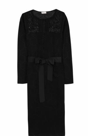 Удлиненный кардиган с поясом и вышивкой Dries Van Noten. Цвет: черный