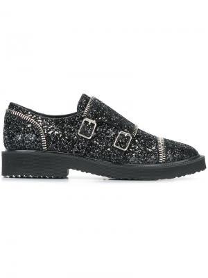 Блестящие туфли-монки с ремешками Giuseppe Zanotti Design. Цвет: чёрный