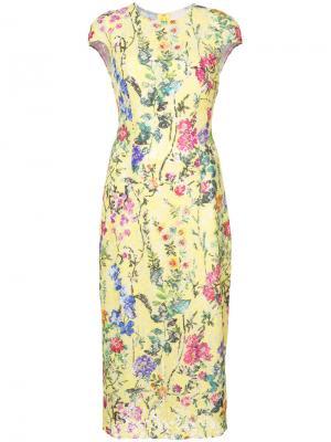 Кружевное приталенное платье Monique Lhuillier. Цвет: жёлтый и оранжевый
