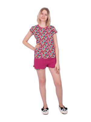 Комплект домашний: футболка, шорты Апрель. Цвет: малиновый