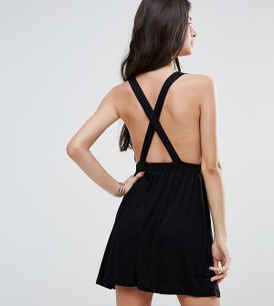ASOS Petite Пляжное платье мини. Цвет: черный