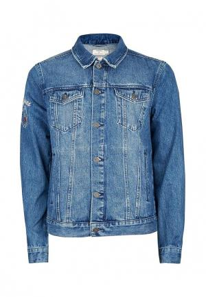 Куртка джинсовая Topman. Цвет: синий