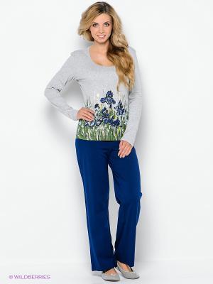 Пижама PELICAN. Цвет: серый меланж, синий