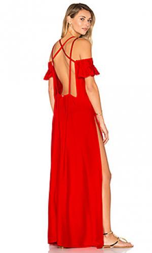 Яркое платье на бретельках ADRIANA DEGREAS. Цвет: красный