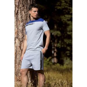 Пижама с шортами DANIEL HECHTER LINGERIE. Цвет: серый меланж + синий