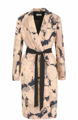 Пальто с цветочным принтом и поясом Dries Van Noten. Цвет: бежевый