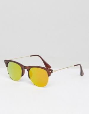 7X Коричневые солнцезащитные очки в стиле ретро. Цвет: коричневый