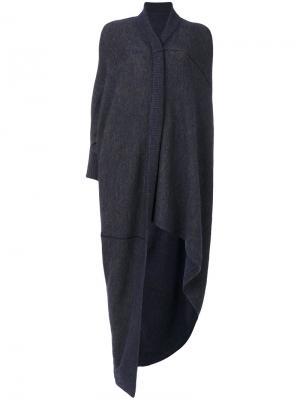 Асимметричное вязаное пончо Humanoid. Цвет: синий