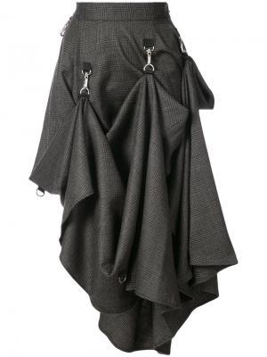 Check asymmetric hook strap skirt Growing Pains. Цвет: серый