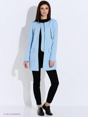 Пальто Oodji. Цвет: голубой