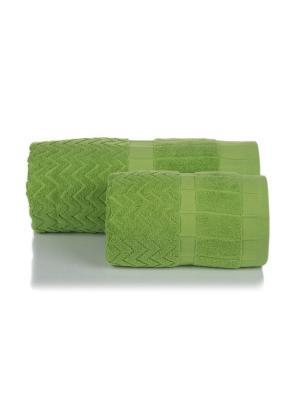 Полотенце махровое ЗИГЗАГИ цв. зеленый  70х140 TOALLA. Цвет: зеленый
