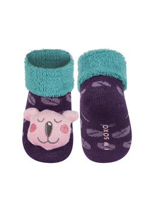 Носки детские с игрушкой Soxo. Цвет: фиолетовый
