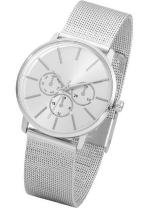 Металлические наручные часы с сетчатым браслетом (серебристый) bonprix. Цвет: серебристый
