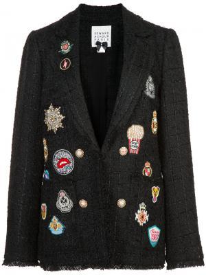 Твидовый пиджак с нашивками Edward Achour Paris. Цвет: чёрный