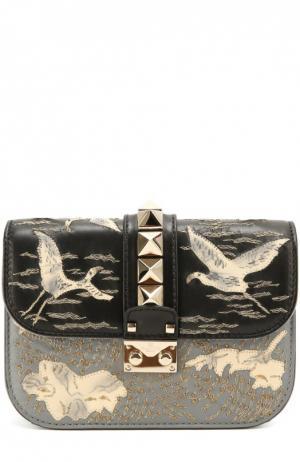 Сумка Glam Lock small с вышивкой бисером и аппликациями Valentino. Цвет: серый