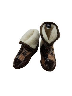Тапочки высокие Меринос Зима RAccOLTO. Цвет: коричневый
