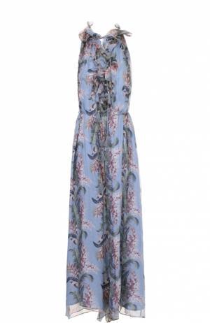 Шелковый комбинезон с оборками и цветочным принтом Zimmermann. Цвет: голубой
