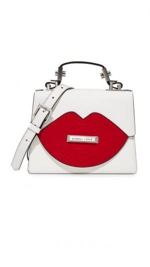Миниатюрная сумка-портфель с ручкой сверху и изображением губ KENDALL + KYLIE