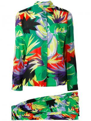 Комплект с тропическим принтом Jean Louis Scherrer Vintage. Цвет: зелёный