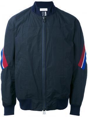 Куртка-бомбер с полосками Facetasm. Цвет: синий
