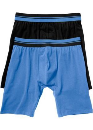 Длинные трусы-боксеры (2 шт.) (черный/голубой) bonprix. Цвет: черный/голубой