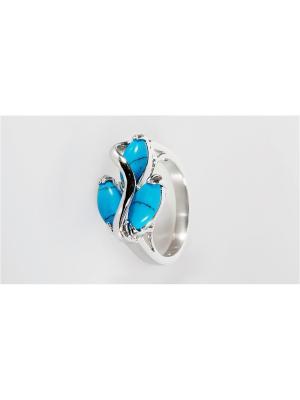Кольцо (RH) бирюза большой рис Lotus Jewelry. Цвет: синий