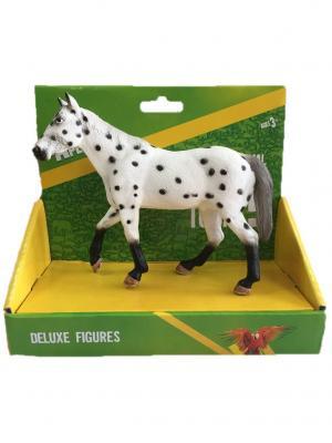 Фигурка Mojo (Animal Planet) в индивидуальной упаковке - Жеребец породы Аппалуза (XL). Цвет: черный, белый, светло-серый